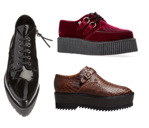 Creepers a punta in vernice Miu Miu, Creepers in suede rosso T.U.K., Creepers in pelle cocco Damir Doma