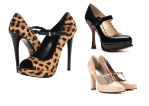 Mary Jane in cavallino stampa leopardo Roberto Cavalli, Mary Jane in pelle nera Prada, Mary Jane in pelle nude Marc Jacobs