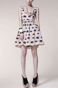 colorful-eye-printing-elastic-petal-waist-dress